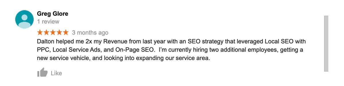 Google Review for Dalton Luka SEO