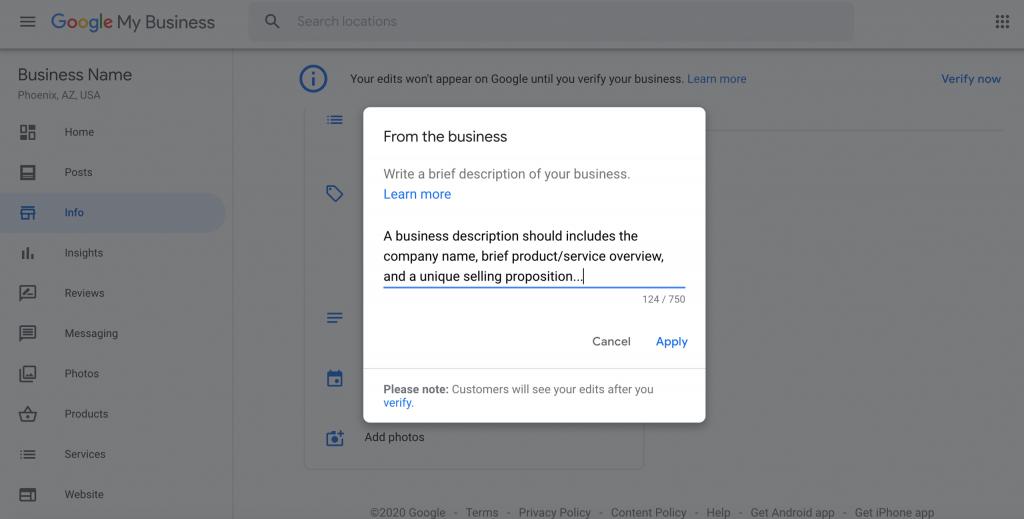adding a business description