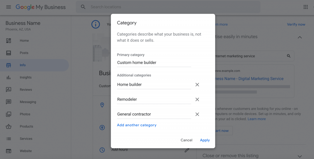 selecting primary and secondary categories for google my business optimization