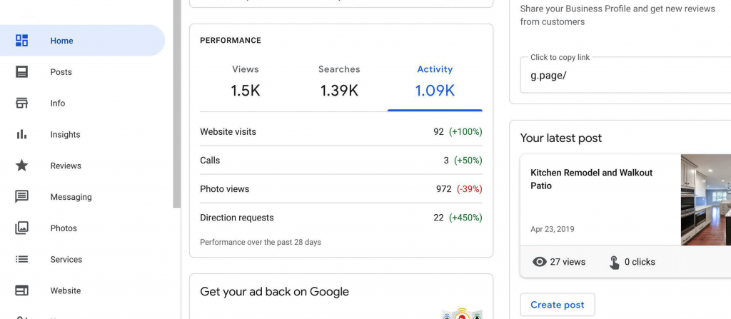 google my business performance insights for actions