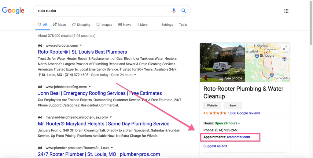 example of an appointment link on a google my business listing