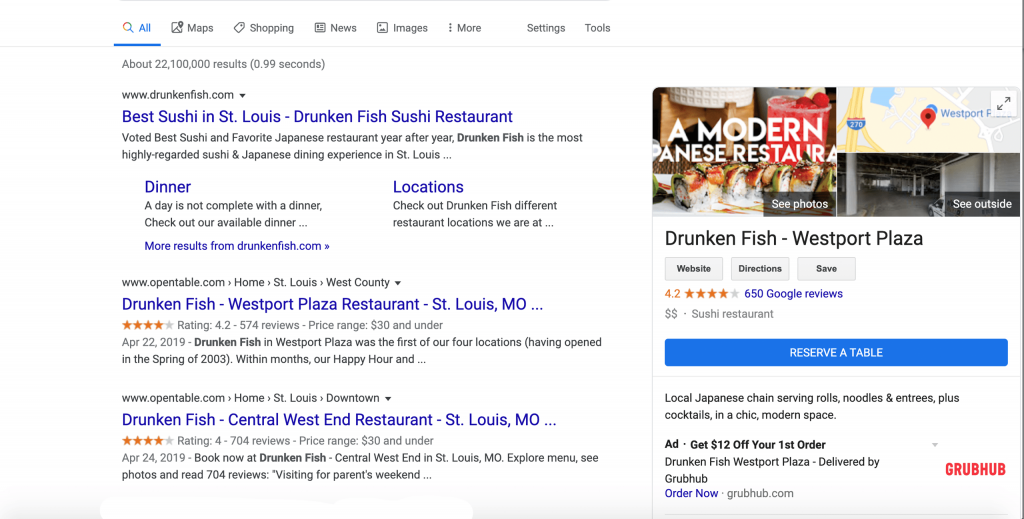 an example of a google my business listing featuring a reserve table and order from GrubHub button