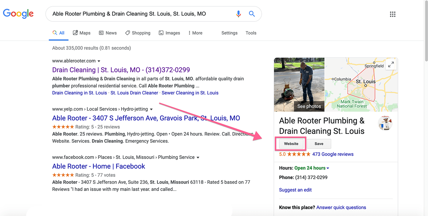 example of a website link on a google my business listing