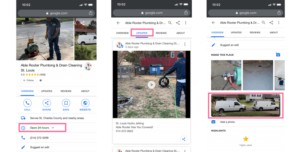 reviewing google maps mobile for competitor image uploads, post date, and business hours