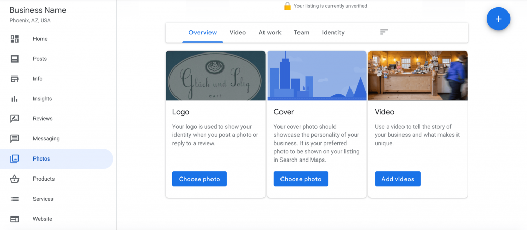 google my business photo upload dashboard