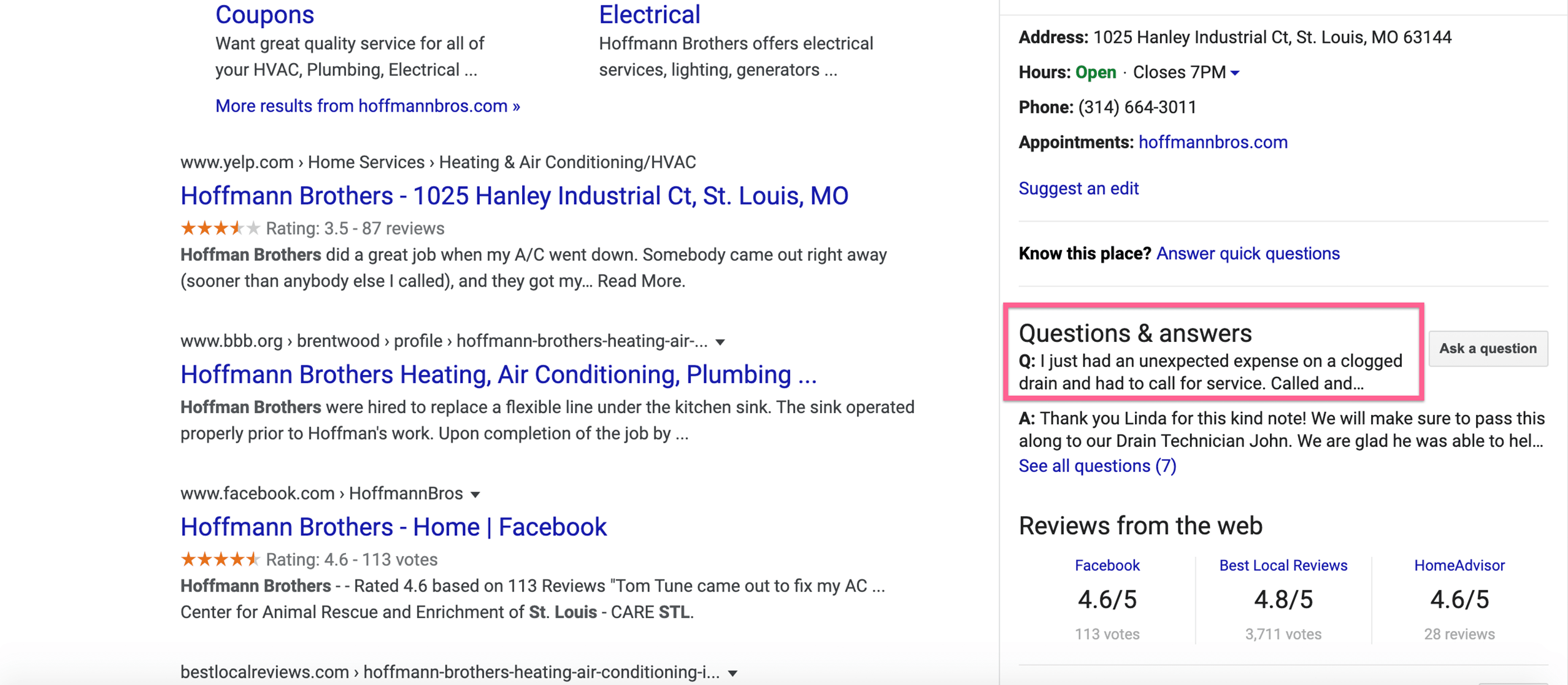 google my business questions and answers example