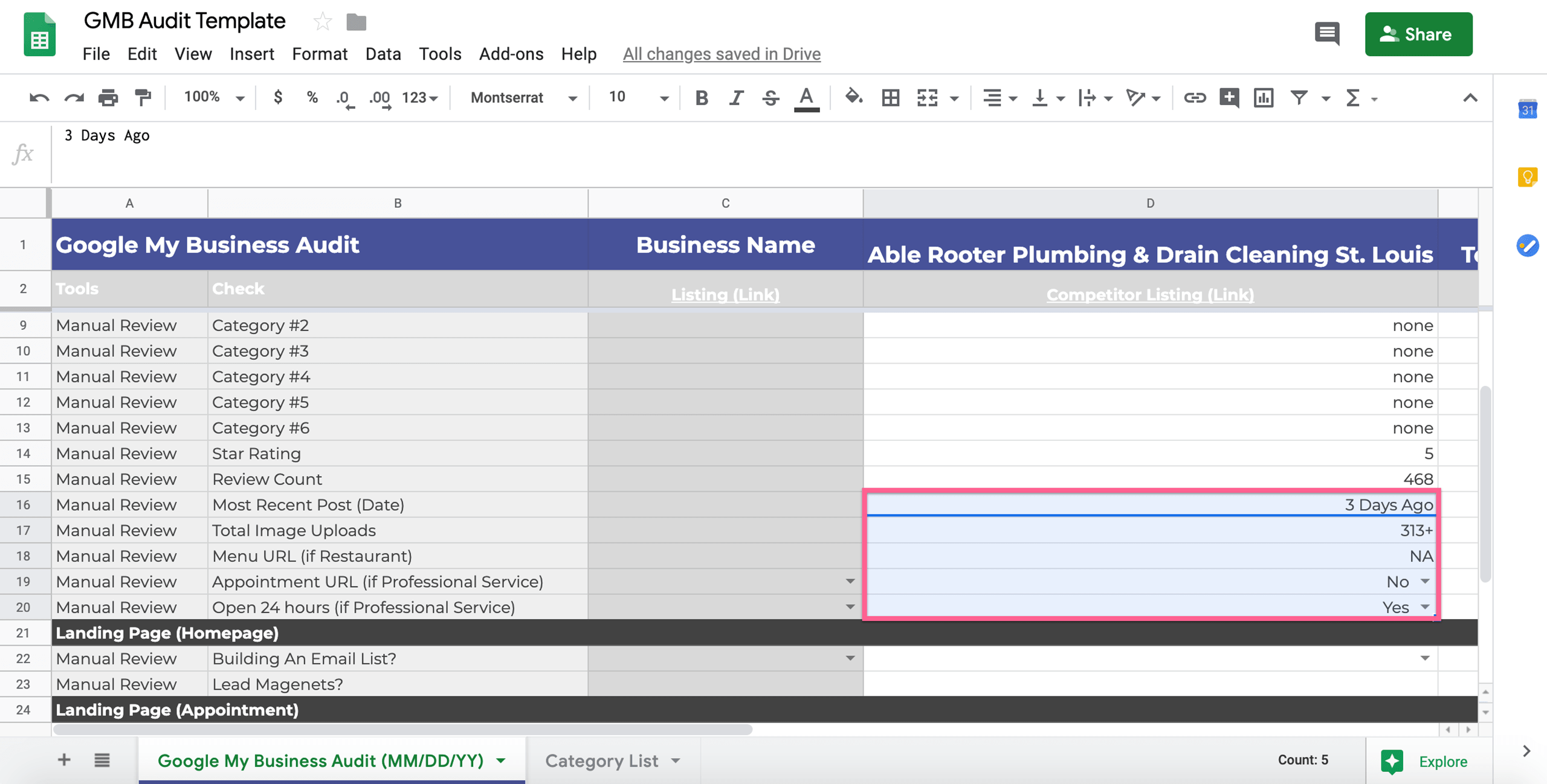 adding image uploads, post date, and business hours to the audit template