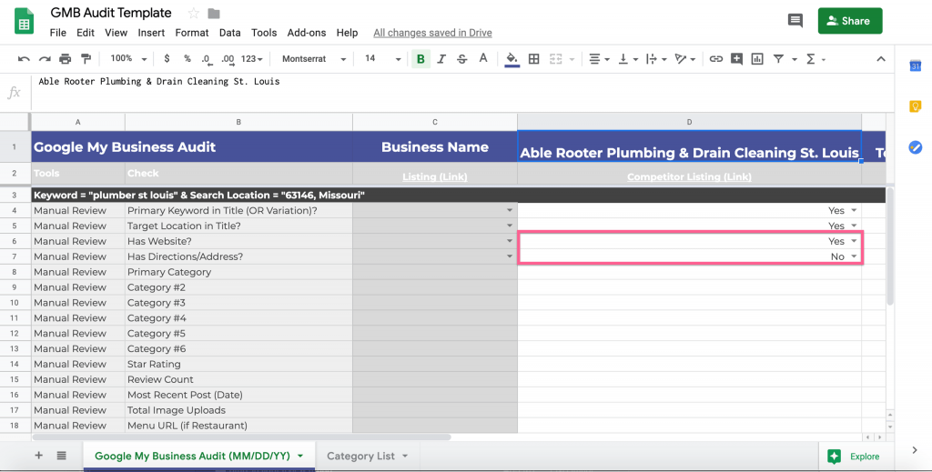 google my business audit template website check for local competition