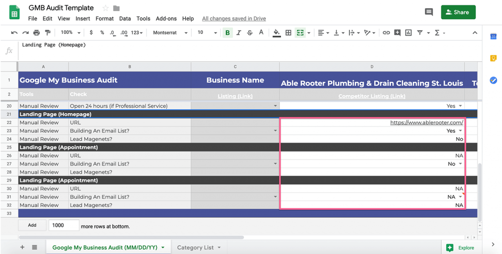 finalizing the google my business audit with website link review