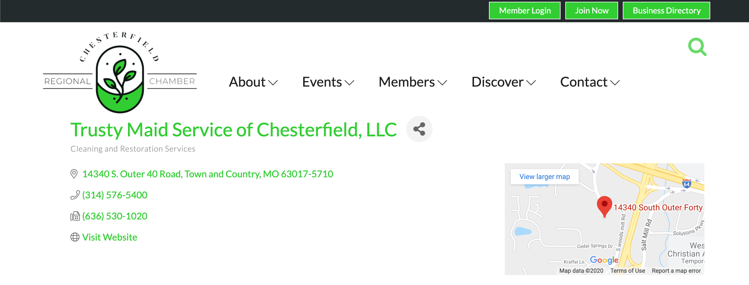 An example of a business listing on a local Chamber of Commerce business directory.
