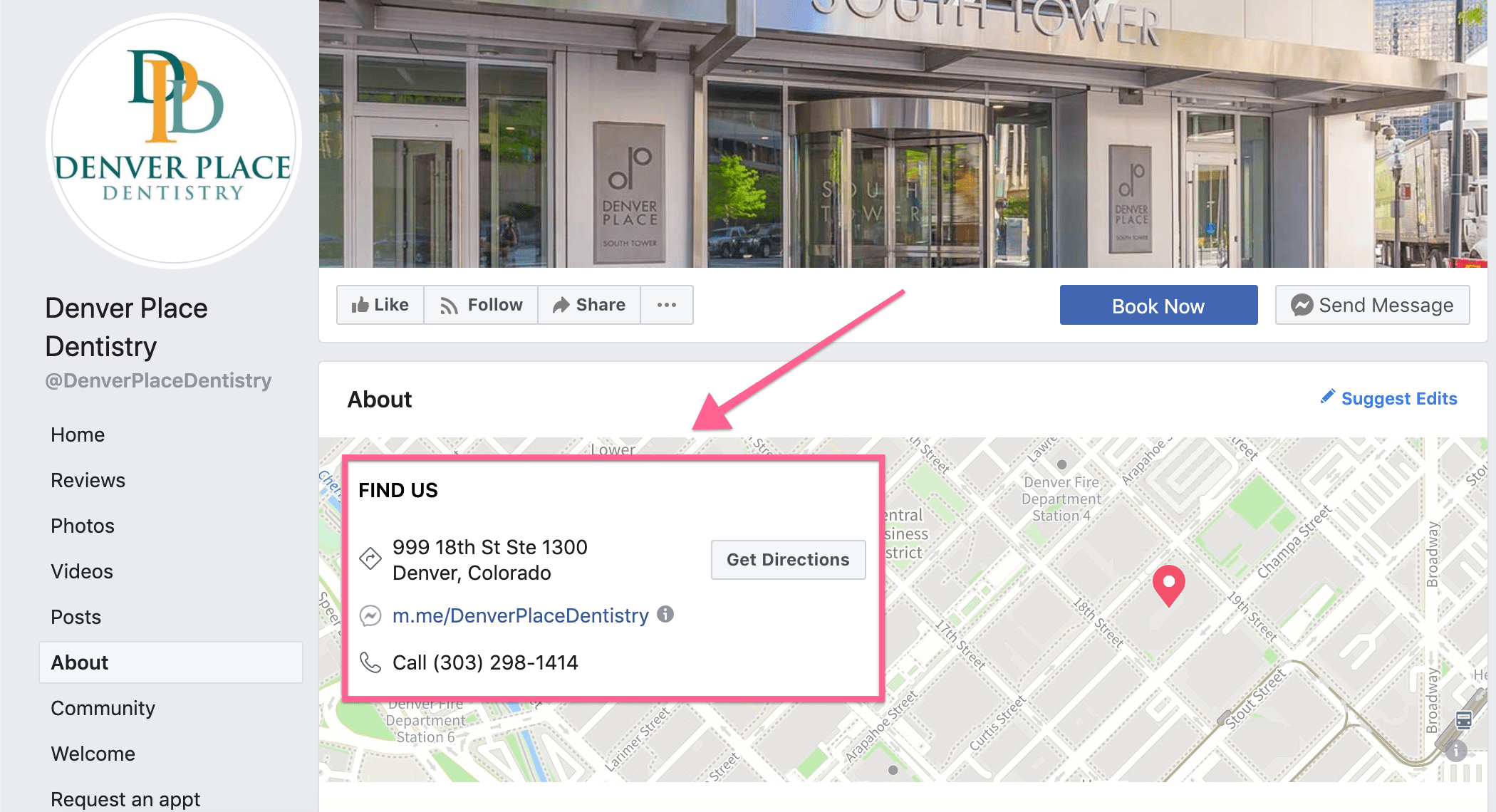 An example of structured location data on a Facebook Business Page.