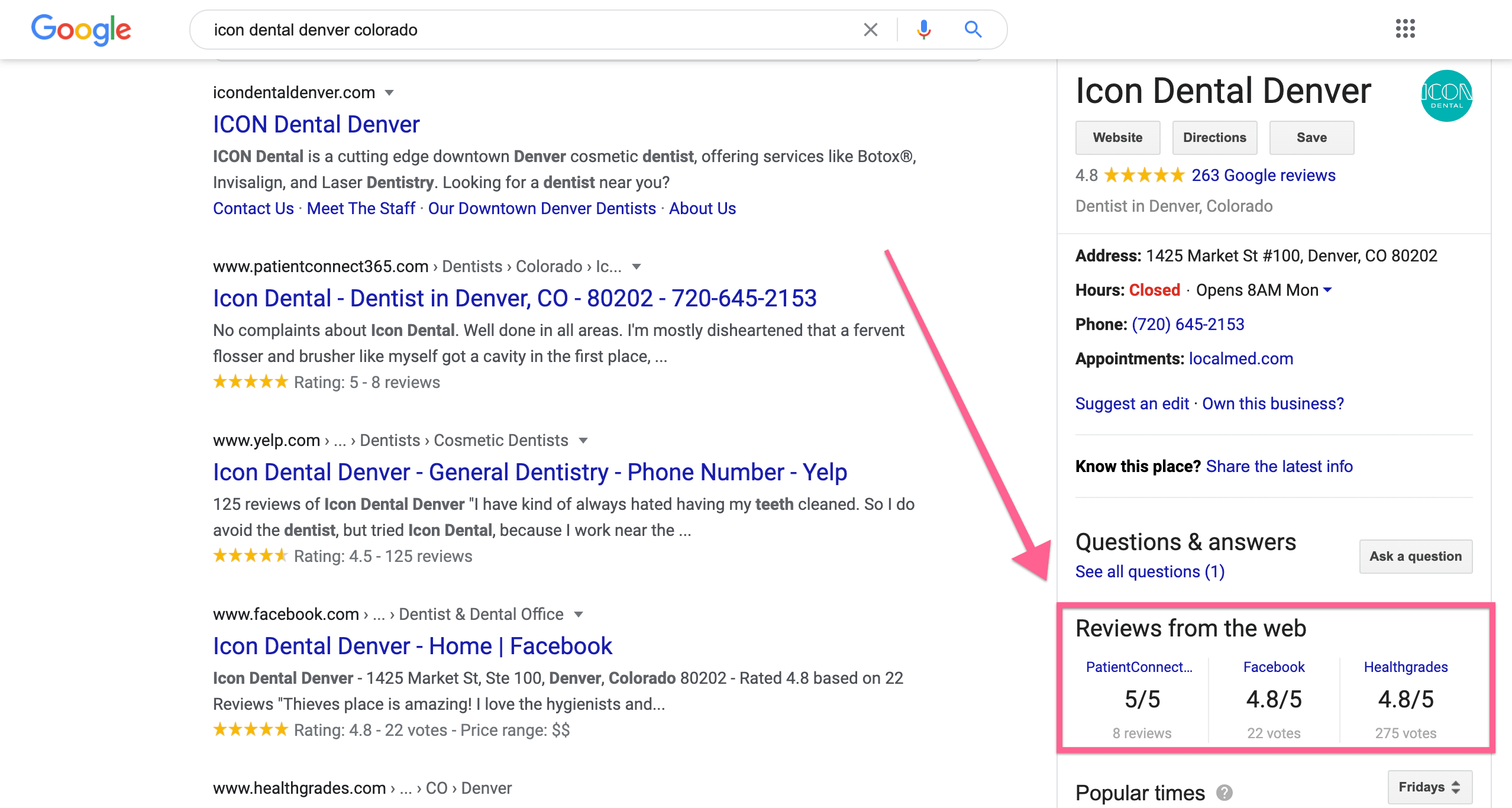 An example of Google displaying Facebook Business Page Reviews on a Google My Business Listing