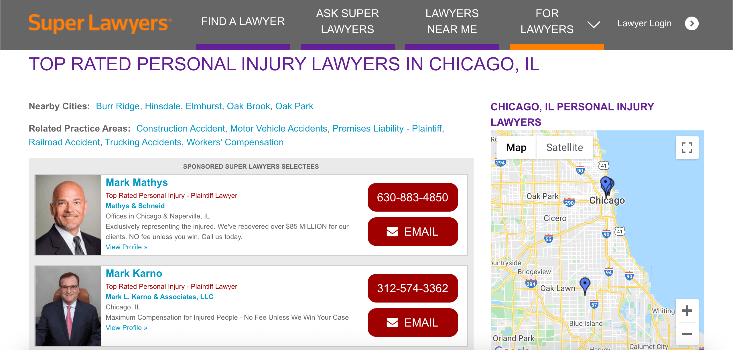 An example of a niche listing, Superlawyers.com