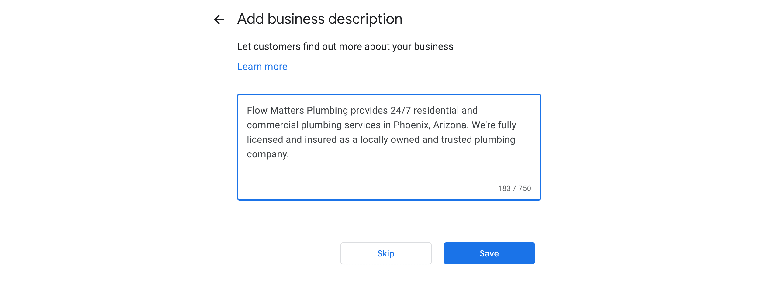 Adding a business description to a upon creating a new Google My Business Profile.