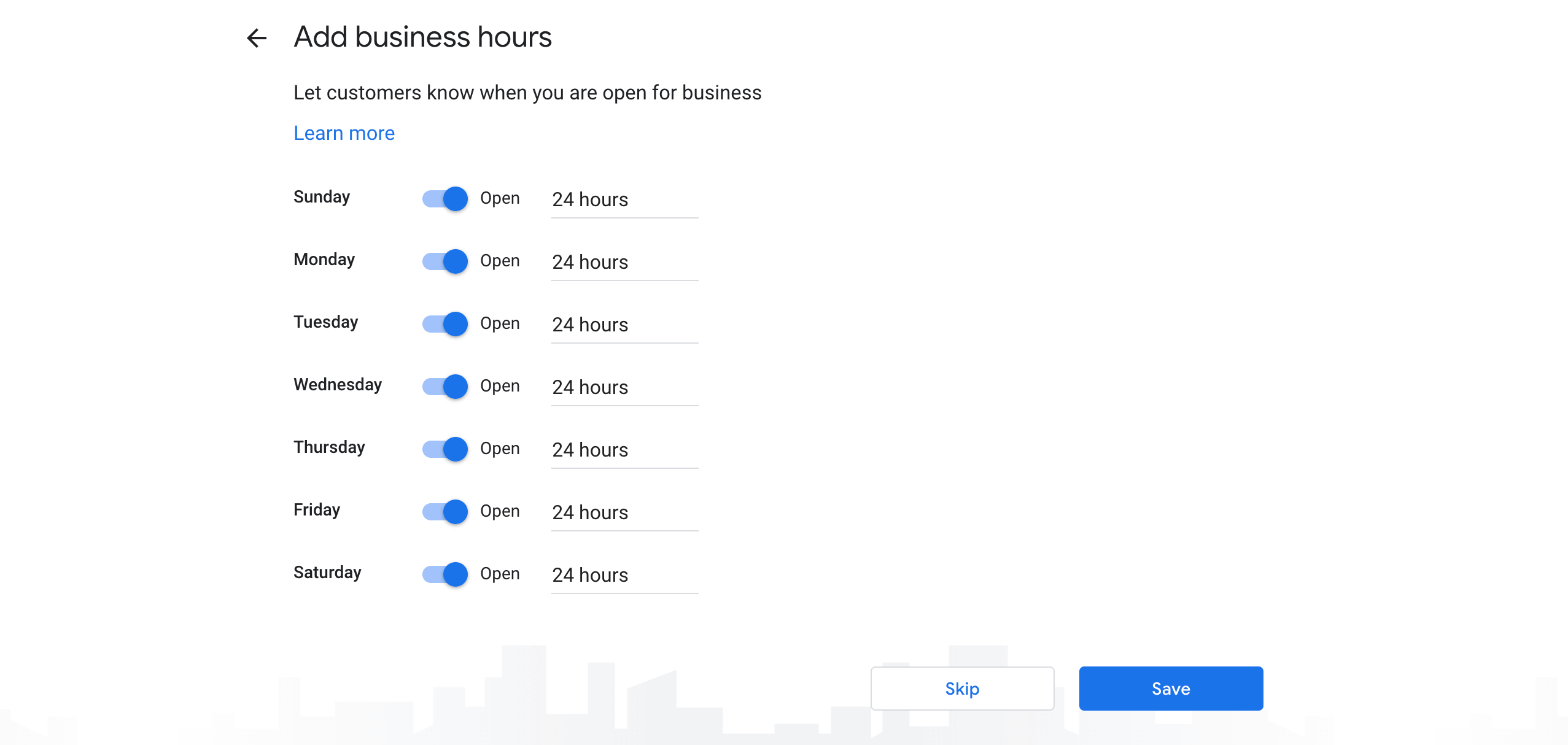 Adding business hours to a Google My Business Profile.