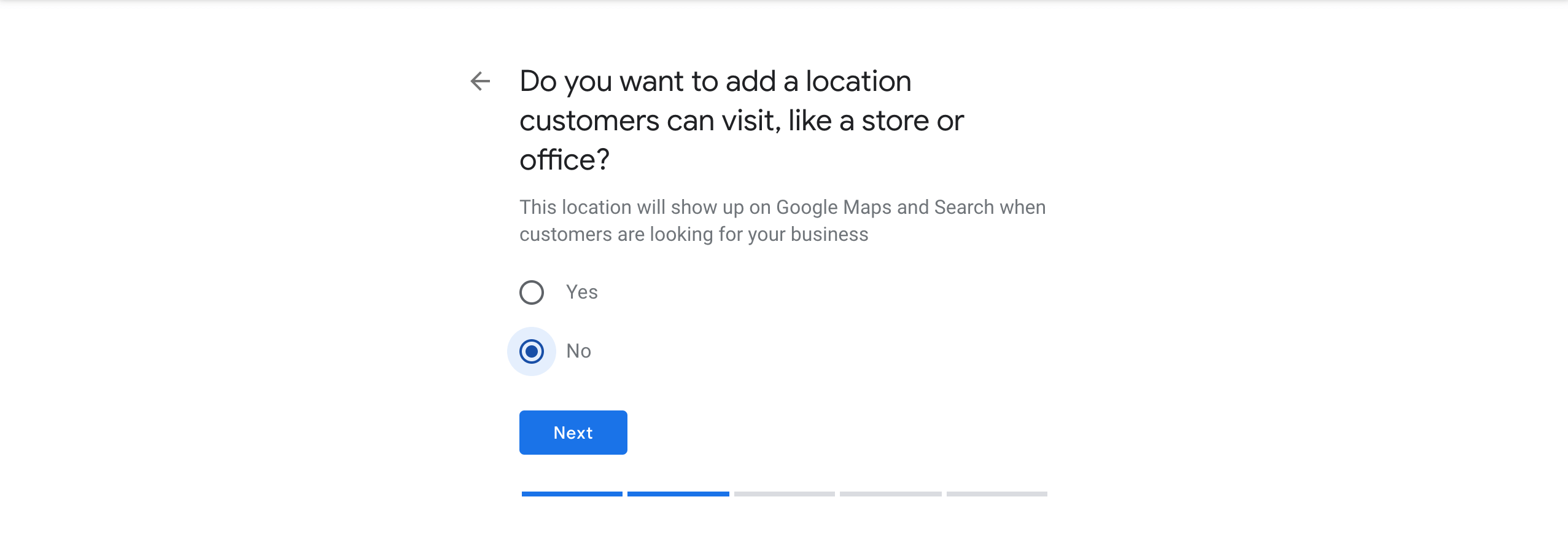Not setting a physical location or address for a new Google Listing.