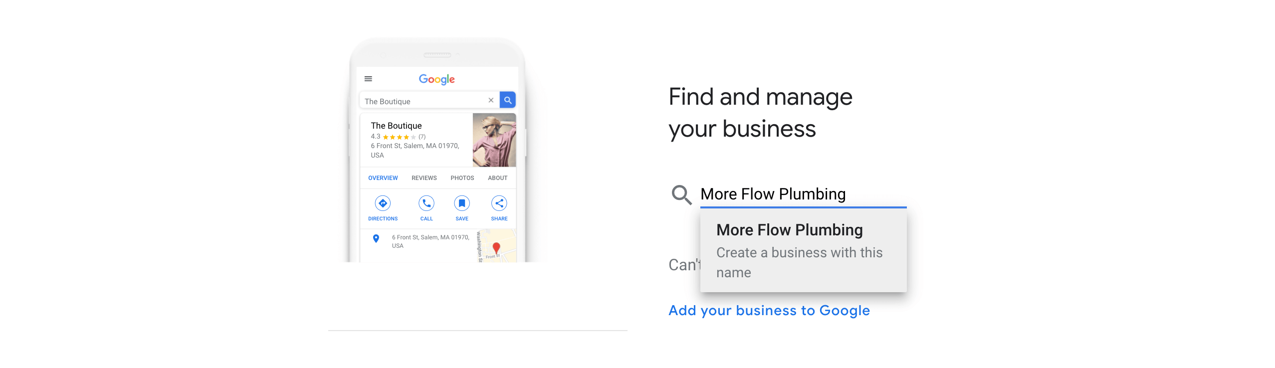 Adding a new business to Google.
