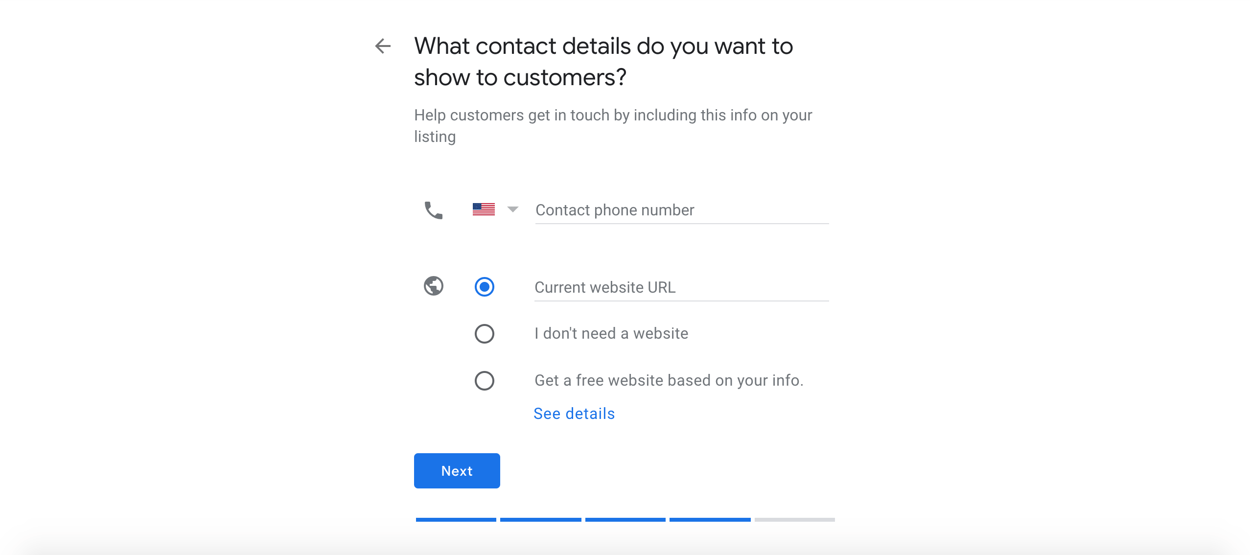 Adding a phone number and website to a new Google Listing