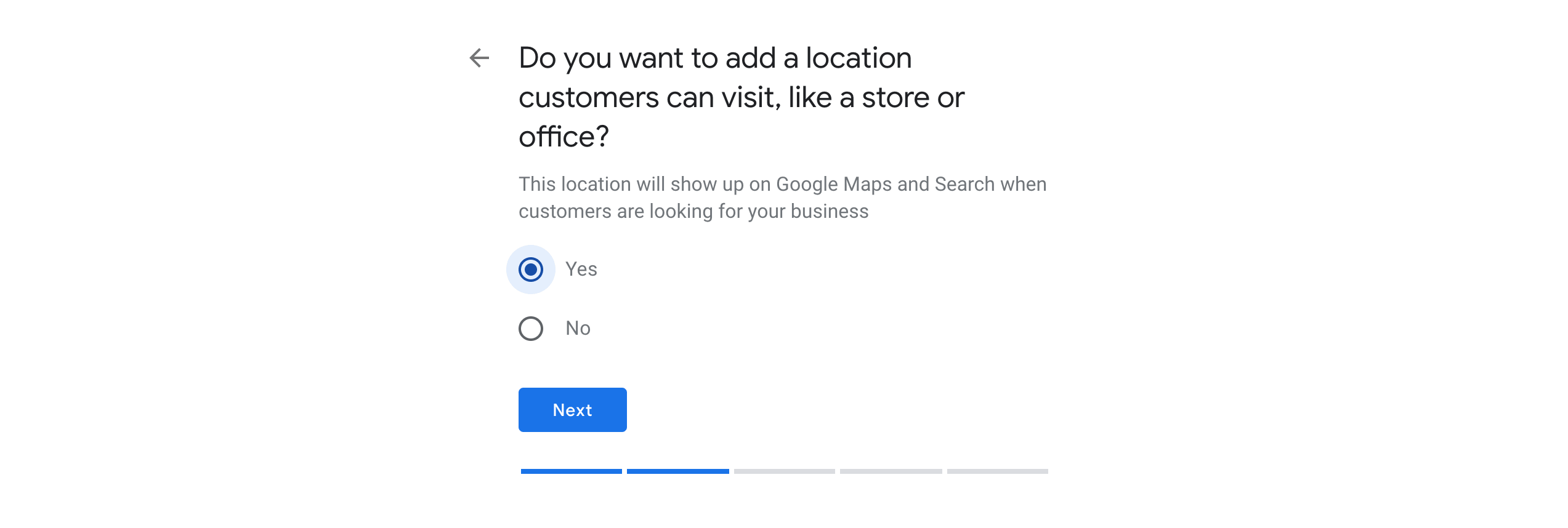 Choosing to add a physical store or office for a Google My Business.