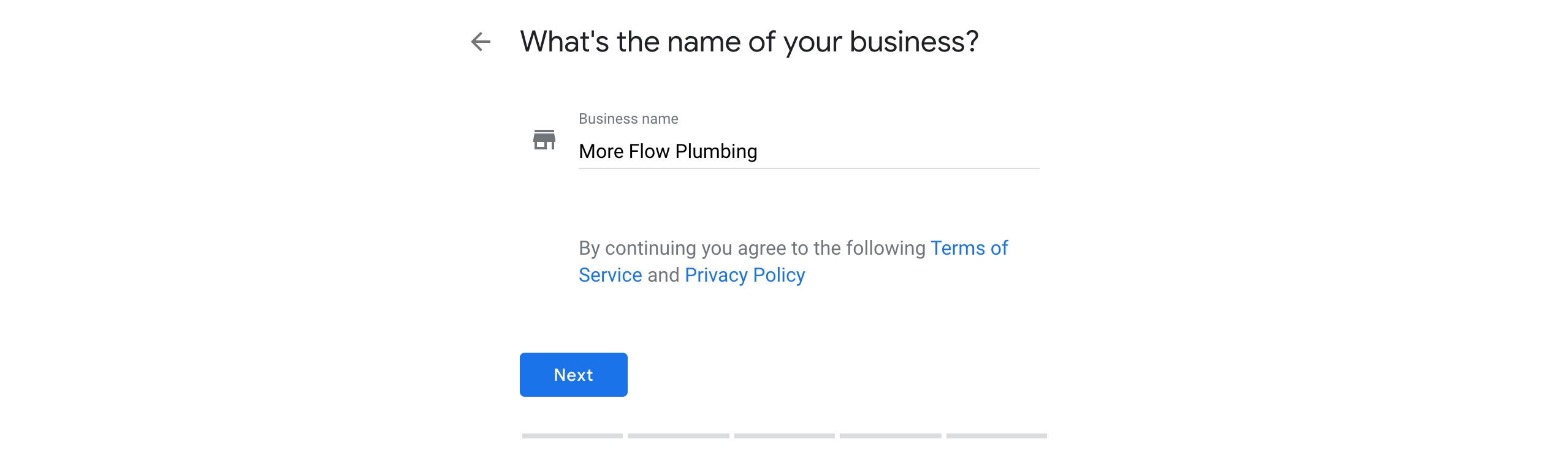 Confirming the business name during the Google My Business setup process.
