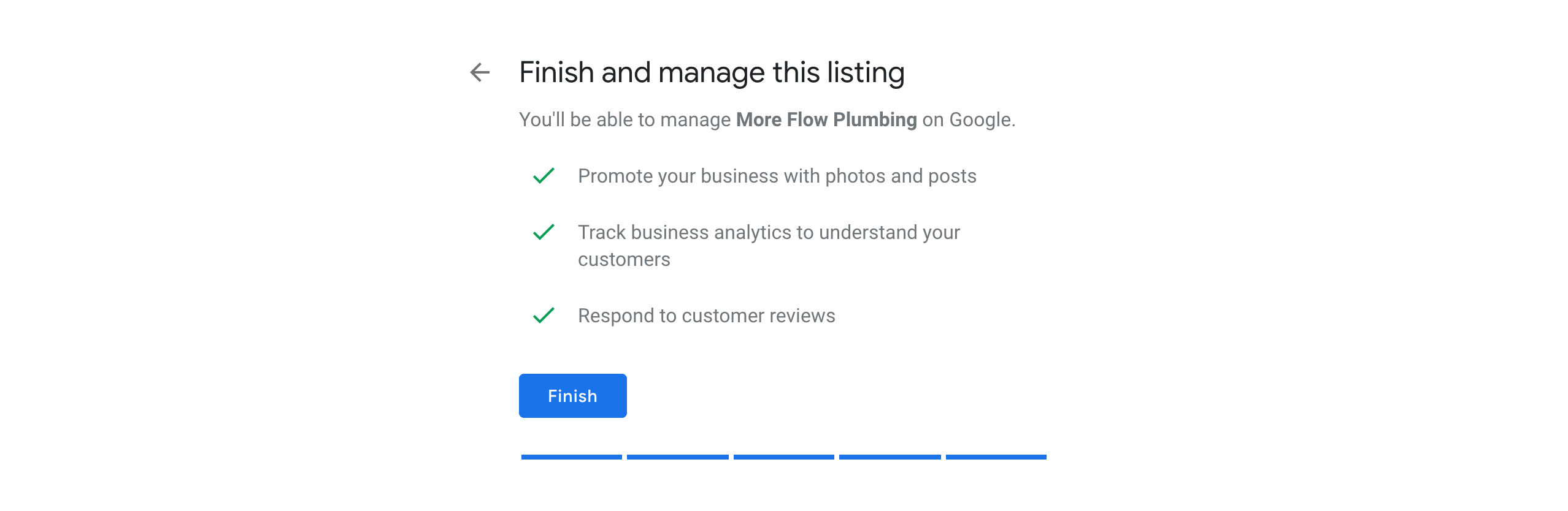 A notification to continue managing and adding information to Google My Business.