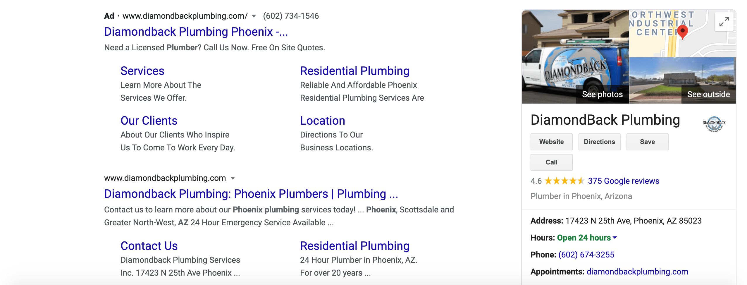 An example of a Google My Business Listing displaying for a branded search.