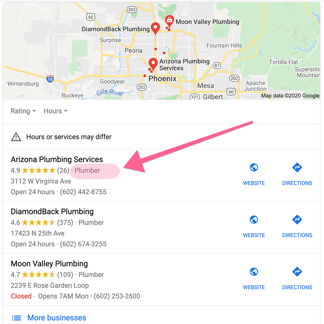 Google My Business Categories example in Local Pack search results.