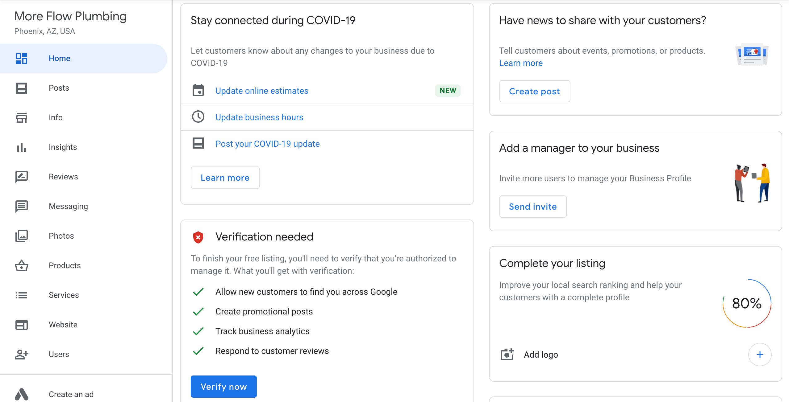 Google My Business Listing Completion Status
