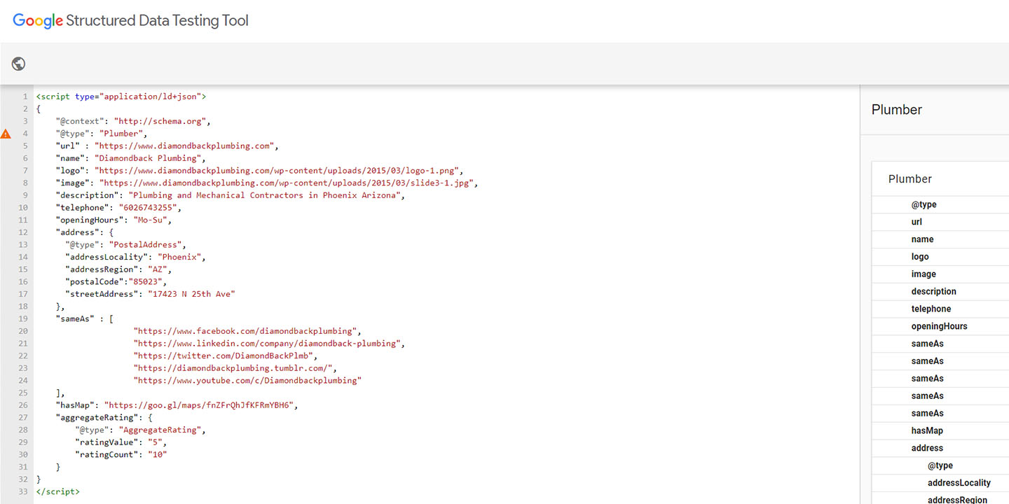 An example of testing local business schema markup with the Structured Data Testing Tool.